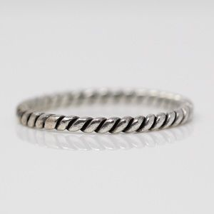 Sterling Silver Braided Cable Stack Band Ring 8.75